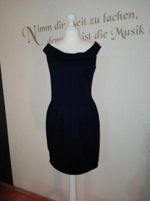 Schönes dunkelblaues, schulterfreies Kleid mit Reißverschluss
