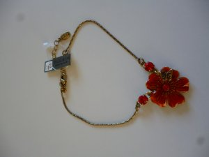 Pilgrim Anklet gold-colored-red