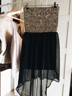 Schönes Glitzer Kleid vokohila schwarz Gold Pailletten