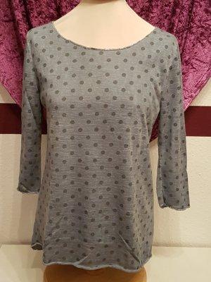 schönes grau blaues dünnes Feinstrick Shirt Pullover Top Selected Touch Gr. 42