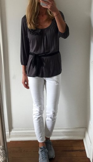 schönes graues Shirt von H&M mit Blumendekor * Gr. S 36-38