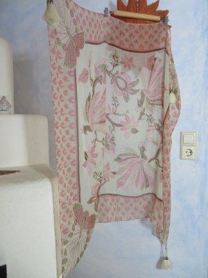schönes großes Tuch/ Schal Phönix mit Blumenmuster Quasten und Perlen