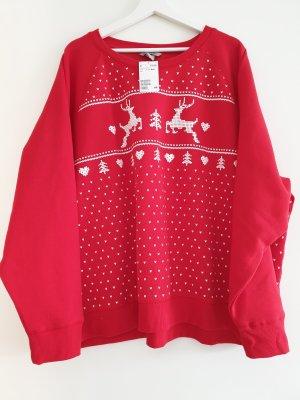 Schönes H&M+ Sweatshirt, Pullover, knallrot, Renntiere, Gr. 3XL