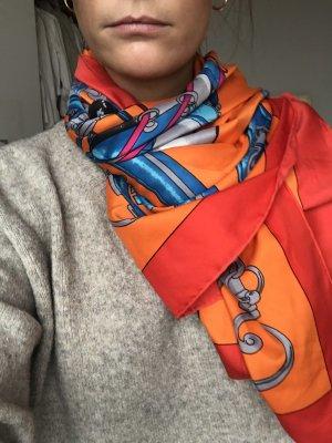 Bufanda de seda rojo-naranja