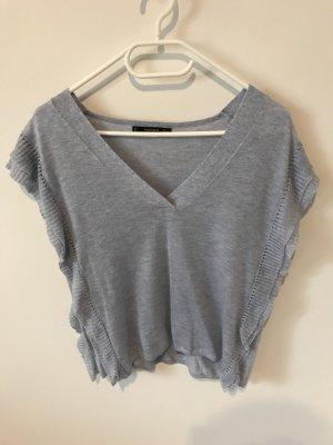 Mango V-hals shirt azuur