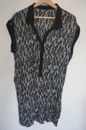 Schönes Hemdblusenkleid (schwarz/weiß) aus 100% Seide
