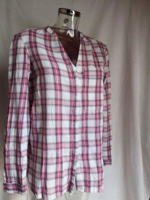 Esprit Blusa a cuadros blanco puro-rosa