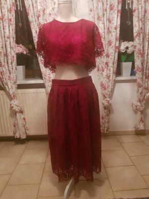 True Decadence Lace Dress dark red-carmine cotton