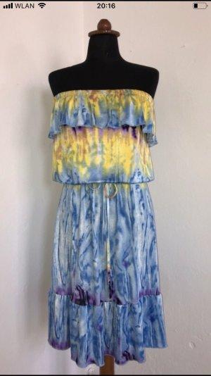 Vestido strapless multicolor