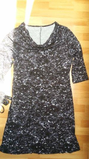 schönes Kleid/ gerader Schnitt/ mit Wasserfallausschnitt/ schwarz-grau-weiß/ M