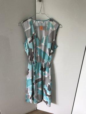 Schönes Kleid mit Stoffgürtel von Laurel im Pucci Look Gr. 36/38 grau weiß blau
