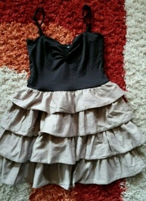H&M Flounce Dress black-grey brown
