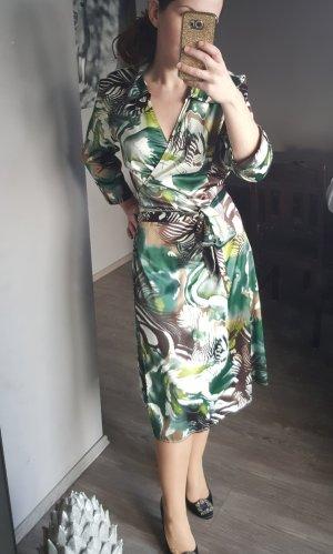 Schönes Kleid More&More Gr 42 - Wickelkleid Blumenkleid grün weiss sexy Businesskleid Blusenkleid