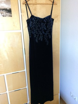 Evening Dress dark blue-silver-colored