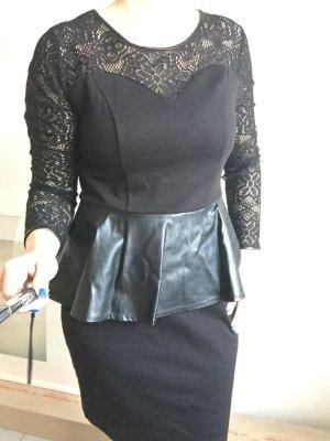 Schönes Leder Spitzen Kleid schwarz