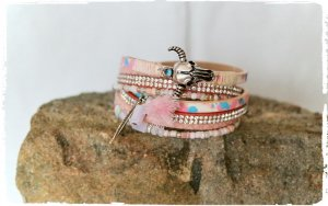 schönes Leder Wickel Armband