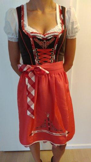 Schönes Midi-Dirndl Spieth & Wensky, Gr. 34, pink/Himbeere/braun