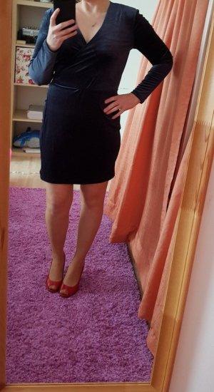 Schönes Minikleid Vila Gr. L (40) Marine Neu Samt Kleid Wickelkleid