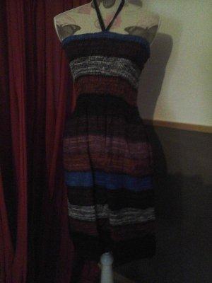 schönes Neckholder Kleid Strand Sommer gesmokt braun blau One Size