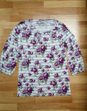 schönes Oberteil/ Blumenmuster in weiß-grau-lila/ M / Canda