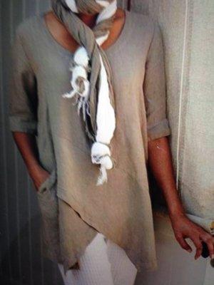 100% Fashion Lang shirt grijs-bruin-beige Linnen