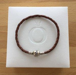 Schönes Pandora Armband aus Leder mit Echtsilber Verschluss, neuwertig