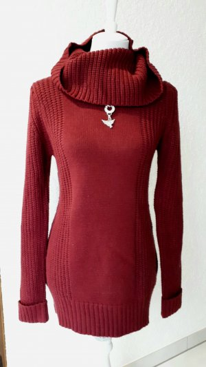 Abito maglione marrone-rosso