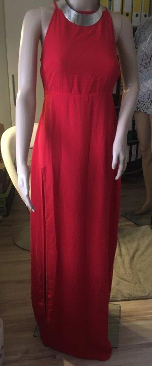 Vestido de cuello Halter rojo ladrillo Poliéster