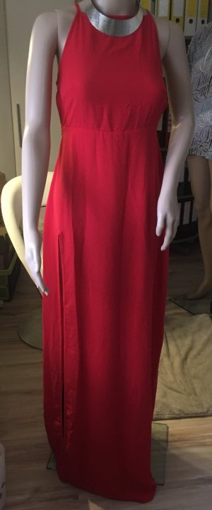 Robe dos-nu rouge brique polyester