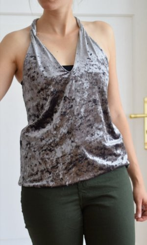 Zara Backless Top grey-silver-colored
