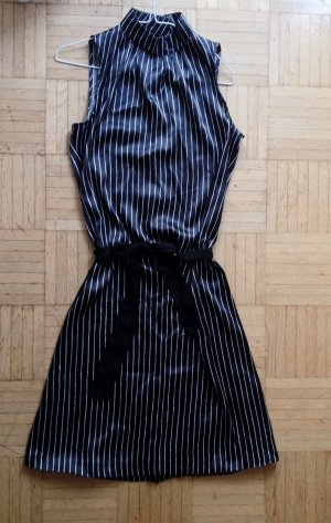Schönes Satinkleid, schwarz-weiss, 30er Jahre-Style, 38, turtleneck