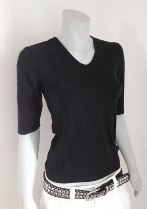 Schönes, schlichtes ESPRIT Basic T-Shirt V-Ausschnitt schwarz Gr. S