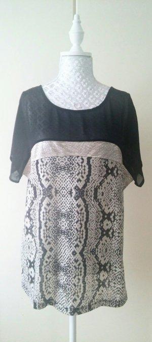 schönes schwarz/beiges T-shirt mit Schlangenprint von Mango