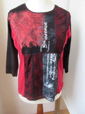 Schönes schwarz rotes T-Shirt mit 3/4 Ärmel