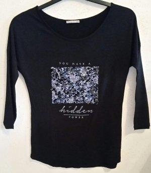 Schönes schwarzes Orsay Pailetten Shirt Gr. S