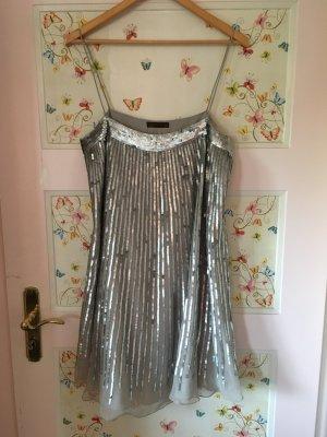 Schönes, sehr edles Kleid von Zara in Größe L Silber mit Pailletten in hellgrau