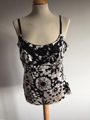 InWear Top de seda blanco-negro