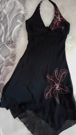 Schönes Sommerkleid Kleid schwarz Blumen Kleid Lilie XS 34