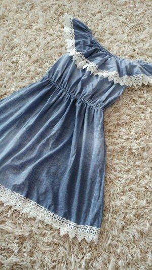 Schönes Sommerkleid mit Spitze in Jeansoptik S