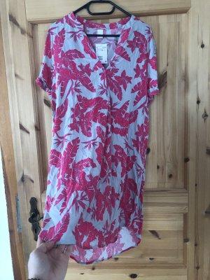 H&M Robe chemise gris-rose viscose