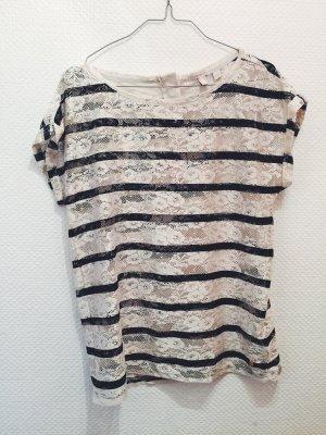 Schönes Spitzen-Shirt, Esprit, edc, wie Neu, Lace, schwarz, weiß, 36-38, Sommer