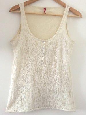 Manguun Top di merletto bianco sporco Cotone