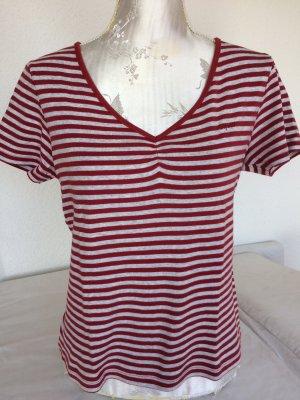 Schönes Streifenshirt in hellgrau und rot