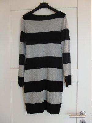Schönes Strickkleid von ESPRIT - Gr. 34 - gestreift - schwarz-grau
