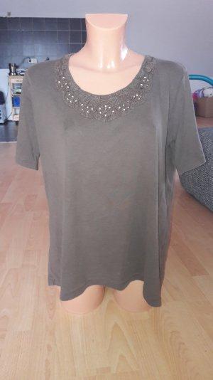 Schönes T-Shirt C&A braun mit Perlen Grösse 42 XL