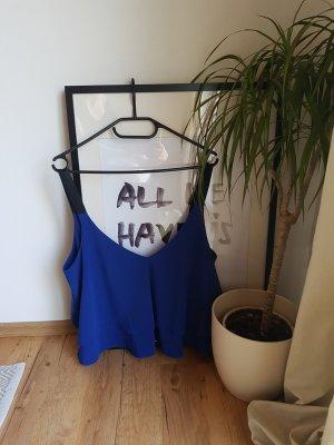 Zara Trafaluc Haut à fines bretelles bleu