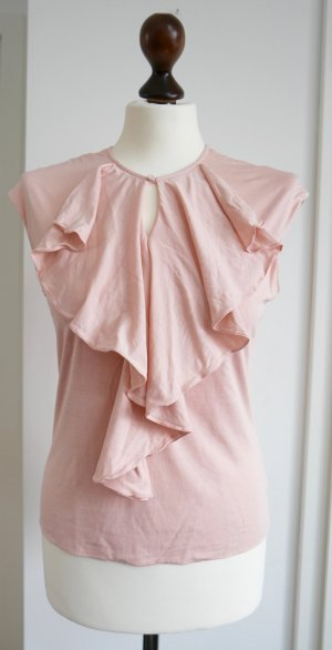 Schönes Top aus Seide mit Volant von Ralph Lauren in rosa