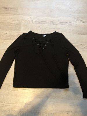 H&M Top corto nero-argento