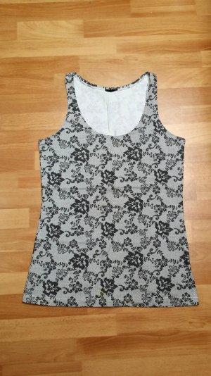 schönes Top/ Oberteil/ schwarz-grau/ Blumenmuster/ Melrose/ Gr. 38