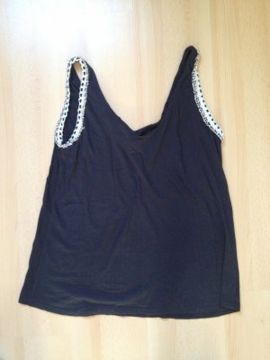 Zara Backless Top black-silver-colored cotton